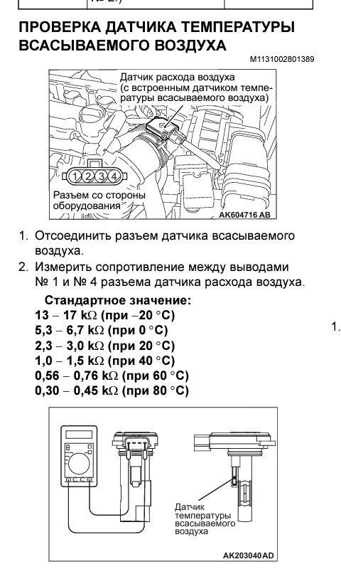 Датчик температуры воздуха на впуске Митсубиси Лансер 10